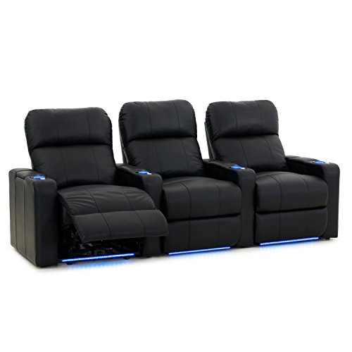 Octane Turbo XL700 Black Bonded Leather with Power Recline Row of 3 Straight