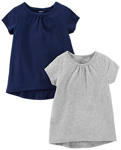 Carter's Baby Girls' 2-Pack Tees, Navy/Grey, 12 Months ()