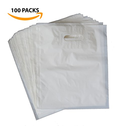 100 12x15 Merchandise Shopping Bags With Die Cut Handles | White Extra Thick 2.25 mil LDPE Plastic Bag | Perfect for Retail Stores, Gifts, Promotion, Party Favors | 100% - Bags Ldpe Plastic