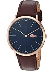Lacoste Mens Quartz Gold and Leather Watch, Color:Brown (Model: 2010871)