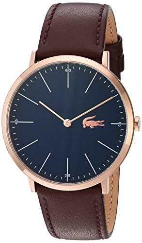 Lacoste Men's Quartz Gold and Leather Automatic Watch, Color:Brown (Model: (Movado Automatic Watch)
