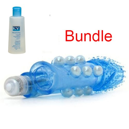 Vibrating Cock Penis Extension Extender Girth Enhancer Sleeve French Tickler AND Personal Lubricant 5 oz Bundle