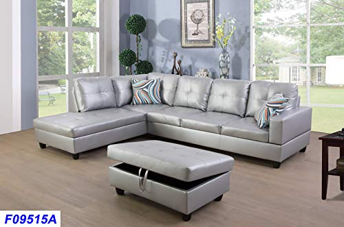 Lifestyle Furniture Left Facing 3PC Sectional Sofa Set,Faux Leather,Silver White(LSF09515A)