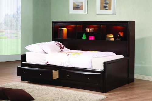 Coaster Home Furnishings Phoenix Daybed with Bookcase and Storage Drawers, Cappuccino, Twin