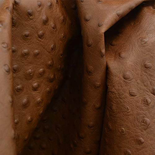 The Leather Guy - Coffee Bean Brown Ostrich Embossed 1 1/2-2 oz Leather Fashion Cow Side 17.2 SF-5