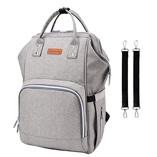 Diaper Bag Backpack Waterproof Baby Nappy Bag Large Capacity Travel Backpack Multi-Function Baby Bag with 3 Insulation Pockets Stroller 2 Water-Resistant Pockets Straps USB Charging Port ()