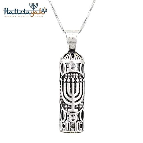 Sterling Silver Mezuzah Pendant - HalleluYAH Jewelry Mezuzah Pendant Necklace - Sterling Silver 925 w/Silver Chain - Made in Israel Contains The Tefilat HaDerech in Hebrew (Menorah + 24