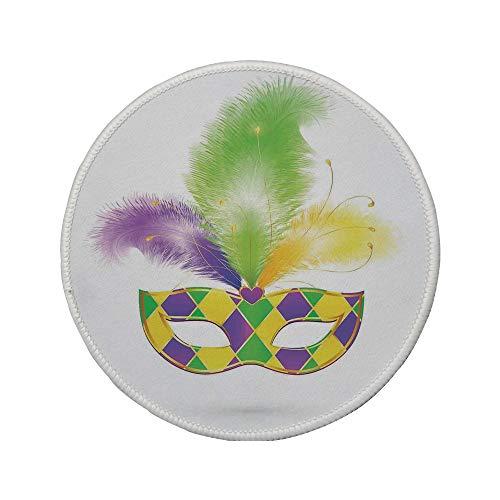 Non-Slip Rubber Round Mouse Pad,Masquerade,Colorful Carnival Mask Romance Celebration Theme Hiding Eyes Design,Purple Green Yellow,11.8