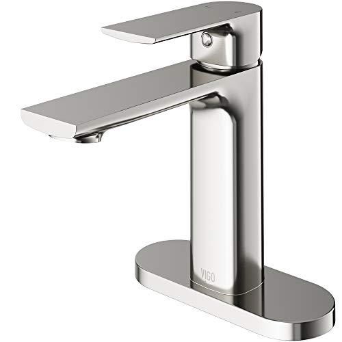Vigo Single Hole - VIGO Davidson Single Hole Bathroom Faucet with Deck Plate in Brushed Nickel
