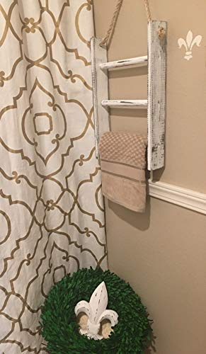3 Tier Mini Towel Ladder with Rope Farmhouse Decor Wood Handmade in USA Decorative Towel Blanket Quilt Shelf Rustic Wall…