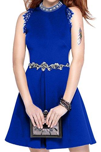 Ivydressing Promkleid Rundkragen Abendkleid Damen Partykleid Steine Sweetheart Royalblau Guertel Festkleid Satin rwrZ0qF