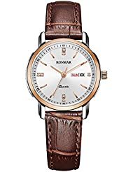 RONMAR RM8008L Luxury Womens Watches Quartz Leather Strap Wrist Watches with Calendar