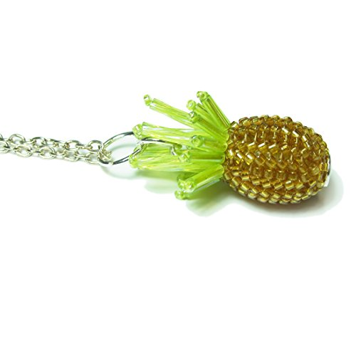 Heart in Hawaii Beaded Pineapple Pendant with 32-inch Cable Chain