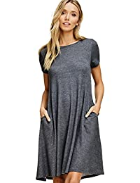 Women's Comfy Short Sleeve Scoop Neck Swing Dresses with Pockets