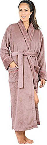 Women's Fleece bathrobe (Large, Nude) - Shawl...