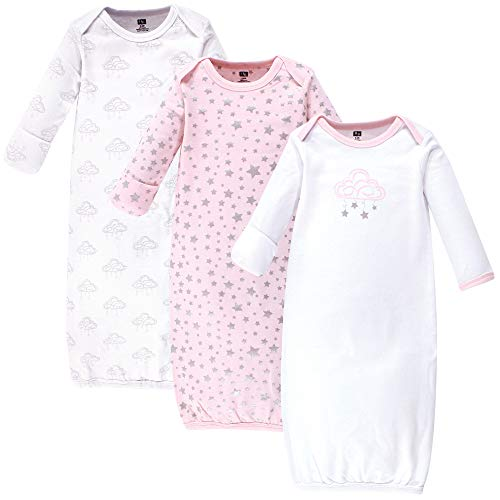 Hudson Baby Baby Cotton Gowns, Cloud Mobile Pink 3 Pack, 0-6 Months