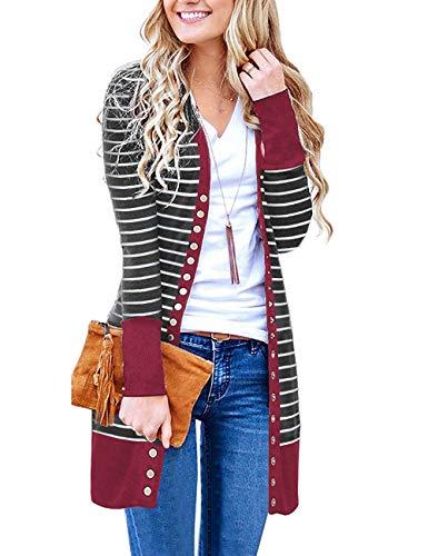 - Basic Faith Women's S-3XL V-Neck Button Down Knitwear Long Sleeve Soft Knit Casual Cardigan Sweater Stripe Burgundy L