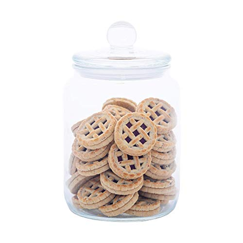 Airtight Glass Jar, Glass Cookie and Candy Jar with Lid, Food Storage Jar, Flour and Sugar Canister, Super Airtight with Wide Opening, Set Of 1 (64oz, 0.5 Gallon)