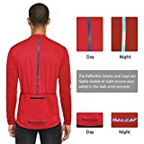 BALEAF Men's Cycling Bike Jersey Long Sleeve with 4 Pockets Bicycle Shirt Reflective Breathable UPF 50+ Red L