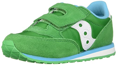 Green Loops - Saucony Girls' Baby Jazz HL Sneaker, Green/Whit, 5.5 Medium US Toddler