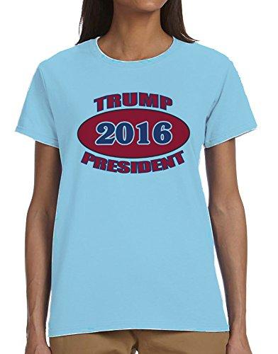 Trump President 2016 (Donald) Ladies T-Shirt Blue Large