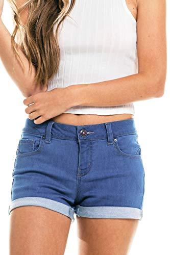 - Wax Women's Juniors Perfect Fit Mid-Rise Denim Shorts Medium Denim Small