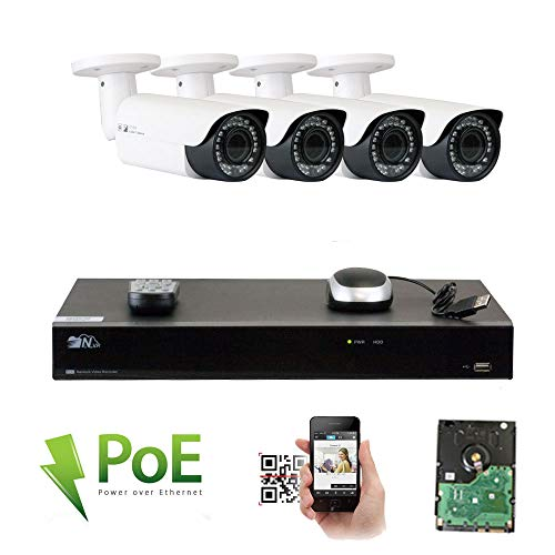 GW Security 8 Channel 4K NVR HD 1920P IP PoE Security Camera System with 4 Outdoor/Indoor 2.8-12mm Varifocal Zoom 5.0 Megapixel 1920P H.265 Cameras, QR Code Easy Setup, Remote Access View