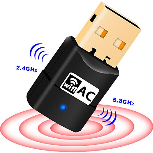 New USB WiFi Adapter 600Mbps, Wireless Adapter Dual Band for PC/Desktop/Laptop, Support Windows10/8/8.1/7/Vista/XP/2000, Mac OS 10.6-10.13, No CD Disk ()