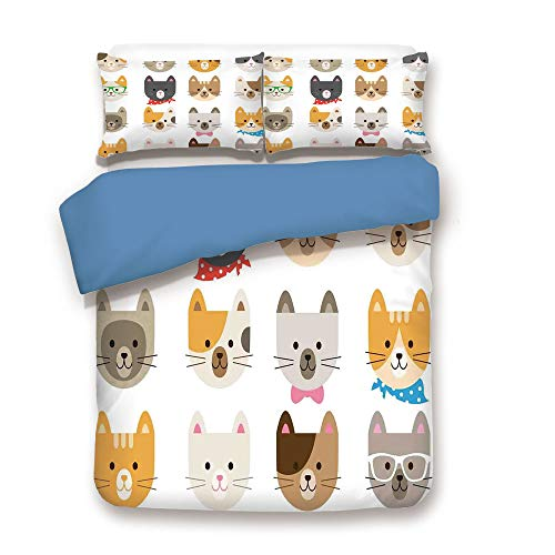 Duvet Cover Set,Blue Back,Kids,Cats Costume with Glasses Bow Tie Bandanna Cartoon Art Craft Pattern Print Pets Animal Lovers Print Decorative,Decorative 3 Pcs Bedding Set by 2 Pillow Shams,Full Si