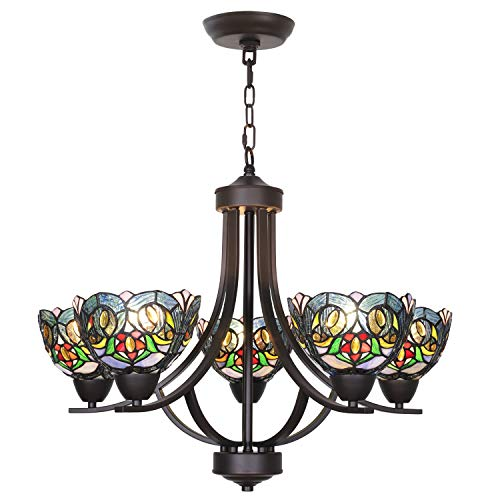 VINLUZ 5 Light Chandeliers Tiffany Style 7-inch Stained Glass Shaded, Oil Rubbed Bronze Vintage Pendant Lighting Traditional Ceiling Light Fixtures Hanging for Dining Room Living Room