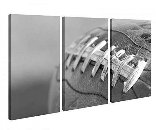 Leinwandbild 3 Tlg Football Rugby Ball Ei American Schwarz weiß Leinwand Bild Bilder Holz gerahmt 9U362, 3 tlg BxH 120x80cm (3Stk 40x 80cm)