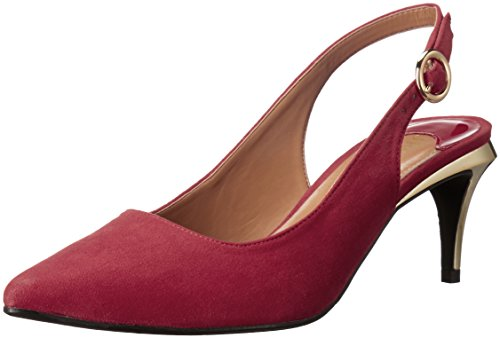 J.Renee Women's Pearla Dress Pump, Red Suede, 7.5 W US