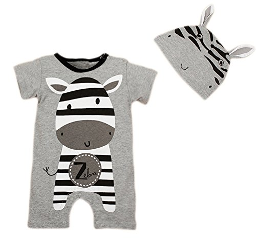 stylesilove Newborn Infant Toddler Cute Animal Baby Costume Jumpsuit and Hat (80/6-12 Months, Grey Zebra) ()