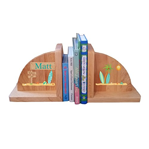 Personalized Surf's Up Natural Childrens Wooden Bookends (Wave Bookends)