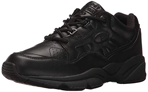 Propét Mens Stability Walker Leather Low Top Lace Up Walking, Black, Size 11.0