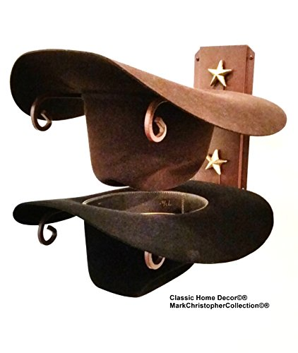 Mark Christopher Collection American Made Cowboy Hat Holder with Stars Rust Finish