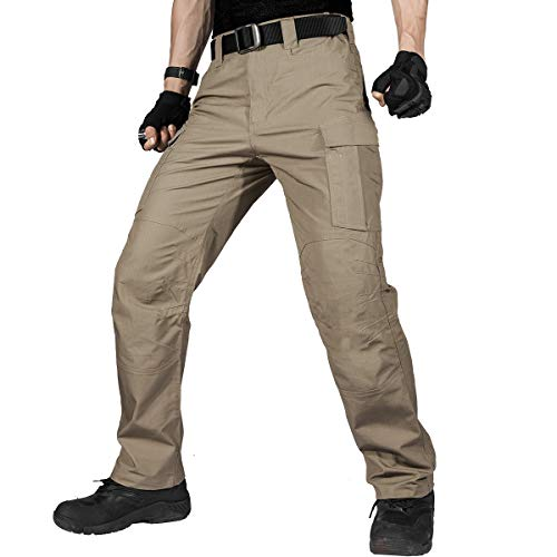 FREE SOLDIER Men's Water Resistant Pants Relaxed Fit Tactical Combat Army Cargo Work Pants with Multi Pocket (Brown 38W/30L)