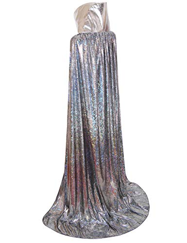 Colorful House Laser Halloween Hooded Cape, Full Length Cosplay Cloak(Silver, Stand Collar, 150cm)