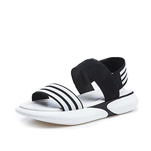 [HR株式会社] スポーツサンダル レディース 厚底サンダル 歩きやすい ストライプ オープントゥ ファッションサンダル 厚底靴  ヒール  約4cm マジックテープ  美脚 おしゃれ 身長UP