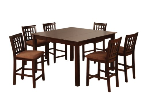 Furniture of America Svelte 7-Piece Counter Height Table Set with 18-Inch Leaf, Espresso Finish