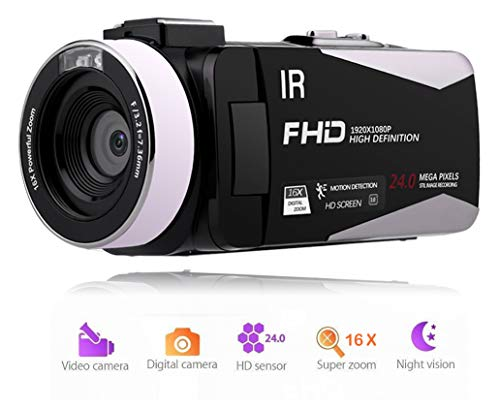 Camcorder 1080P 30FPS FHD Video Camera Night Vision Video Camcorder with Rotation Screen and Remote Control Vlogging Camera for YouTube Supports External Microphone