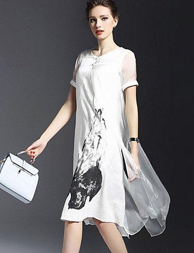 PU&PU Robe Aux femmes Trapèze Vintage,Imprimé Col Arrondi Asymétrique Polyester , white-xl , white-xl