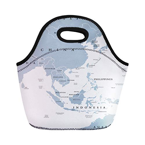 Tinmun Lunch Tote Bag East Asia Political Map Countries and Borders Eastern Subregion Reusable Neoprene Bags Insulated Thermal Picnic Handbag for Women Men