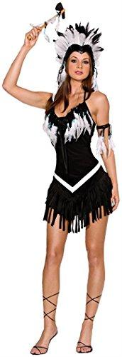Dreamgirl Women's Tribal Princess Costume,Black/White, Small (Indian Tribal)