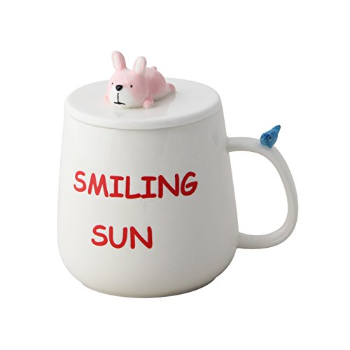BBujsgH The Korean lovely cartoon Ceramic cups Tatu mug with lid Scoop milk cup breakfast cups of coffee cups , couples only afraid of the rabbit, diameter 7690mm