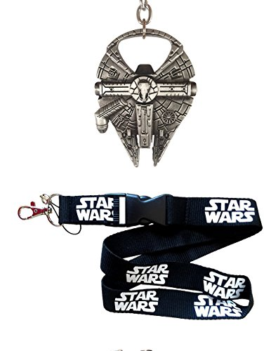 Millennium Gift (Millennium Falcon Bottle Opener 4pc Gift Set - Fully Functional Metal Star Wars Millenium Keychain Opener + Lanyard + 2 Bonus Fan items)