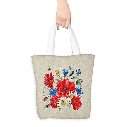 - Shopping Bag,Flowers Vintage Watercolor Bouquet of Wildflowers Poppies Daisies Cornflowers Butterflies,Canvas Shopping Beach Cloth Tote,16.5