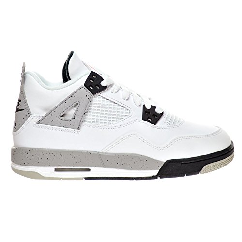 "Jordan Air 4 Retro OG BG ""Cement"" Big Kid's Shoes White/Fire Red/Black/Tech Grey 836016-192 (5 D(M) US) by Jordan"
