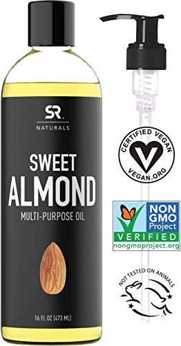 Sweet Almond Oil by SR Naturals ~ 100% Natural Oil for Hair, Skin, Scalp and Aromatherapy … (16oz)
