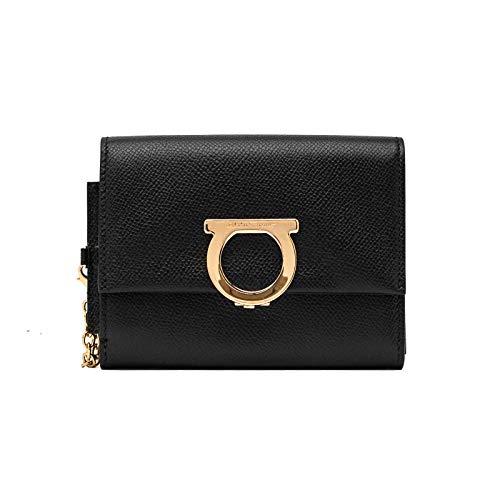 Salvatore Ferragamo Women's Leather Gancini Wallet Black